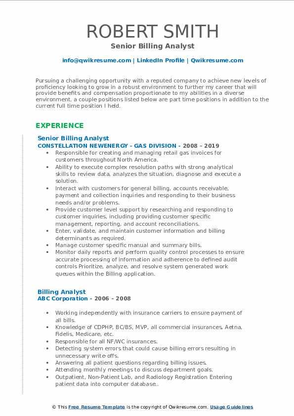 Senior Billing Analyst Resume Format