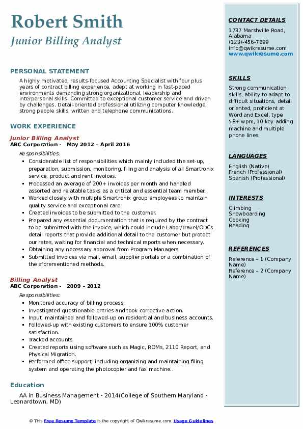 Junior Billing Analyst Resume Sample