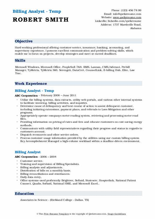 Billing Analyst - Temp Resume Model