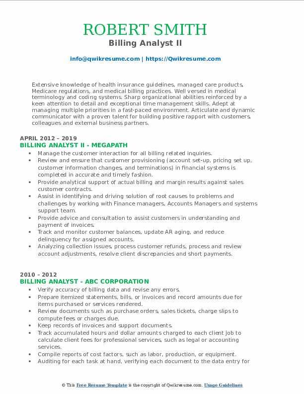 Billing Analyst II Resume Format