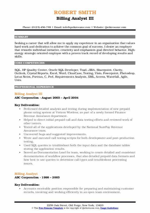 Billing Analyst III Resume Model