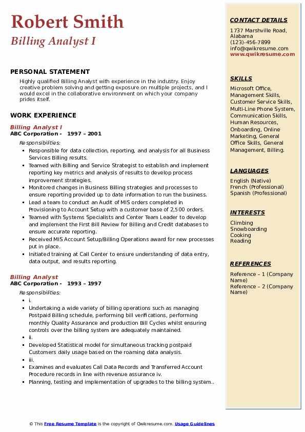 Billing Analyst I Resume Format