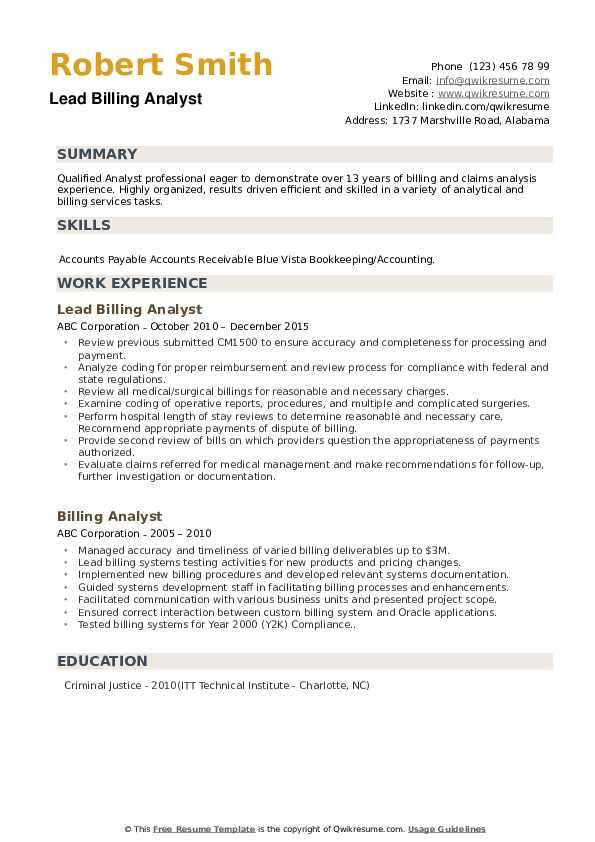 Lead Billing Analyst Resume Model