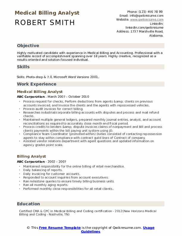 Medical Billing Analyst Resume Template