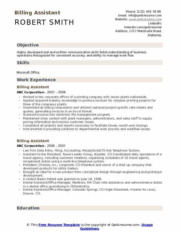 Billing Assistant Resume Format
