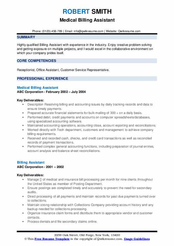 Medical Billing Assistant Resume Example