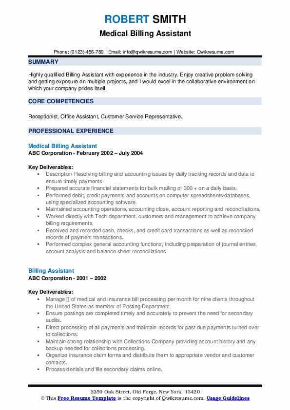 Medical Billing Assistant Resume Format
