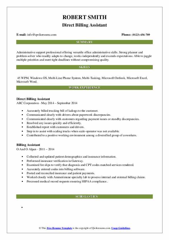Direct Billing Assistant Resume Template