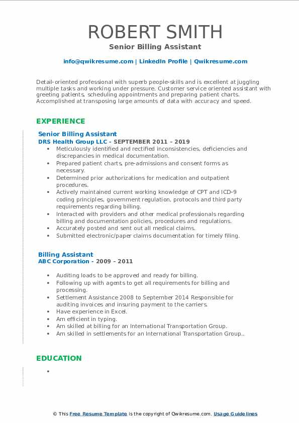 Senior Billing Assistant Resume Template
