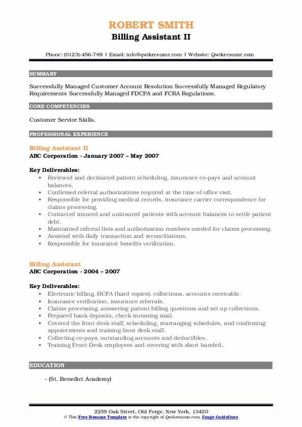 Billing Assistant II Resume Template