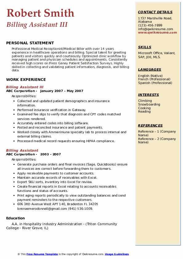 Billing Assistant III Resume Example