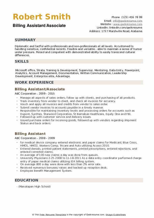 Billing Assistant/Associate Resume Format
