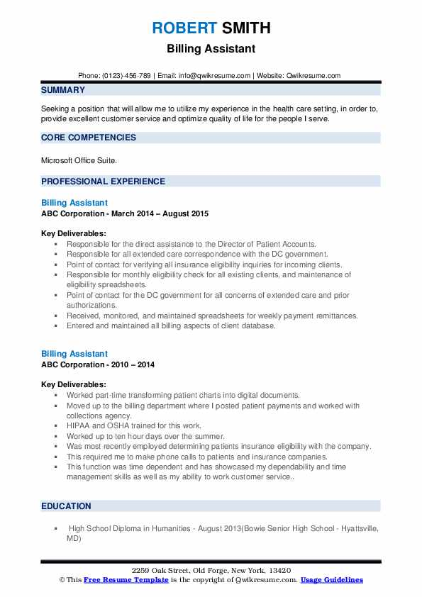 Billing Assistant Resume example
