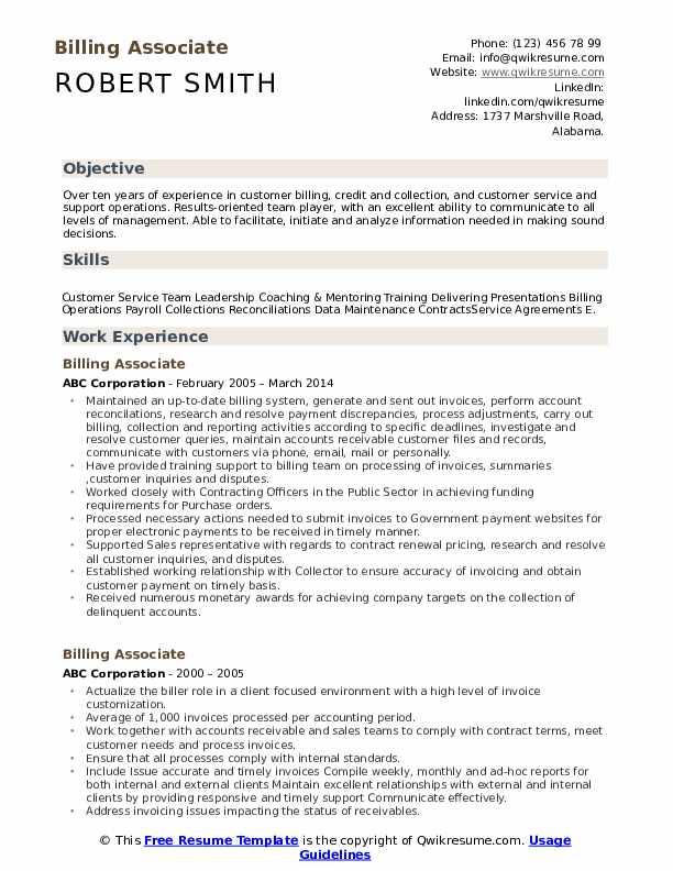 Billing Associate Resume Example