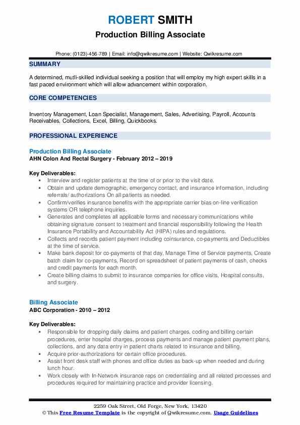 Production Billing Associate Resume Template