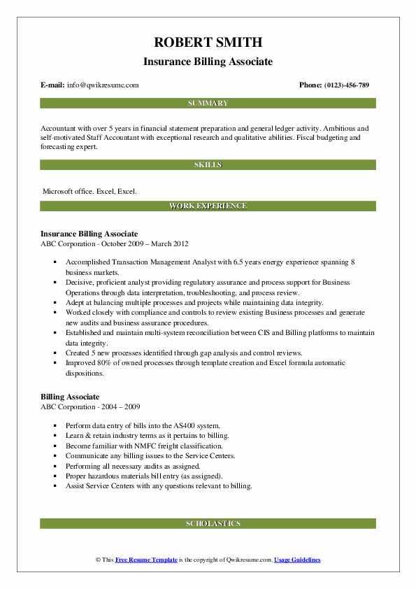 Insurance Billing Associate Resume Example
