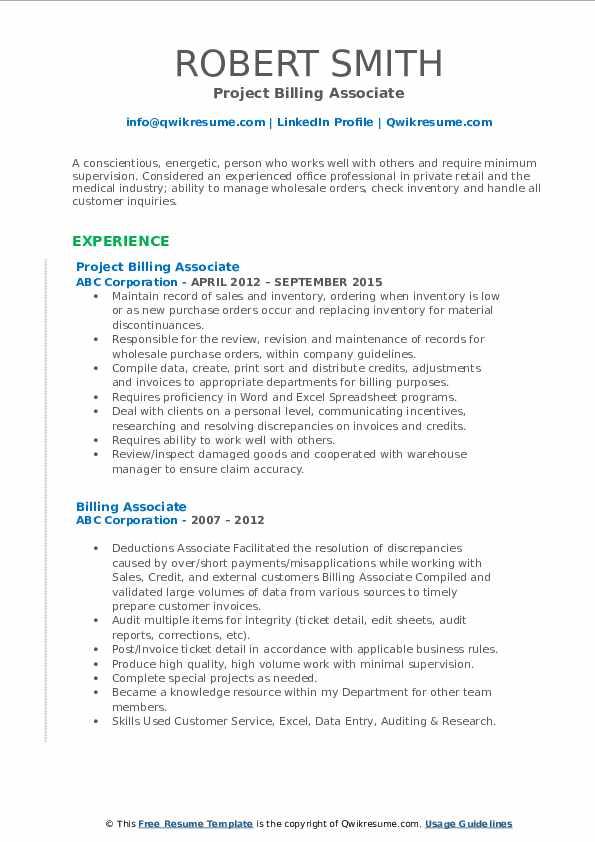 Project Billing Associate Resume Model
