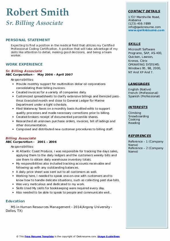 Sr. Billing Associate Resume Template