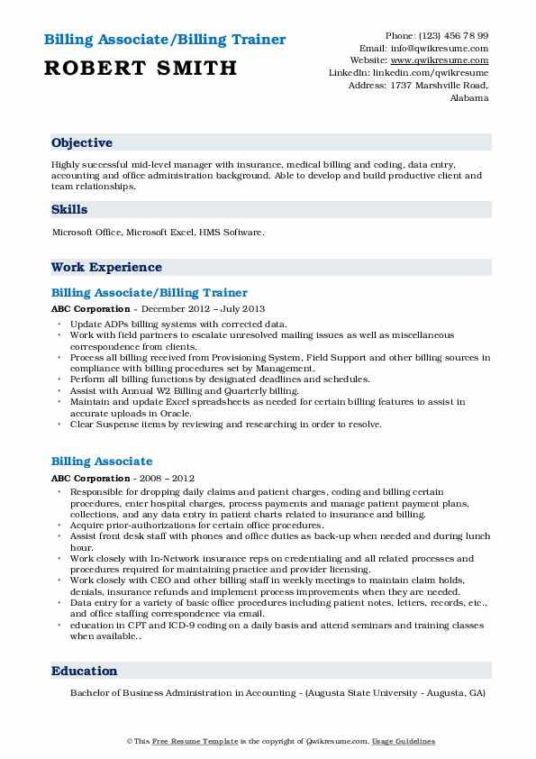 Billing Associate/Billing Trainer Resume Sample