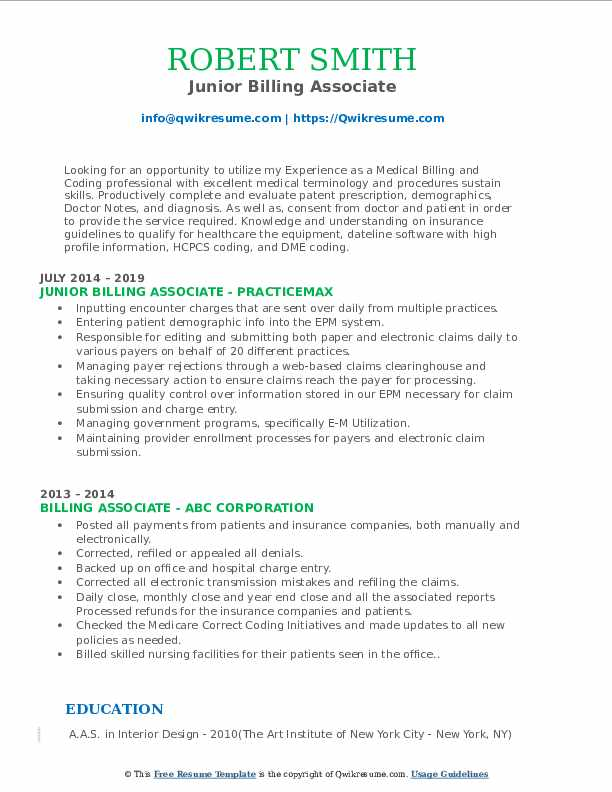 Junior Billing Associate Resume Sample