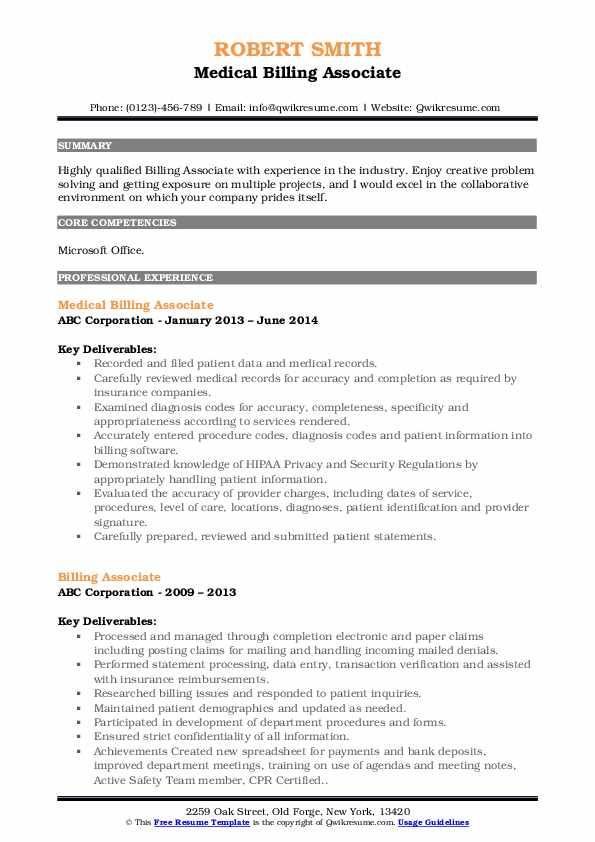Medical Billing Associate Resume Format