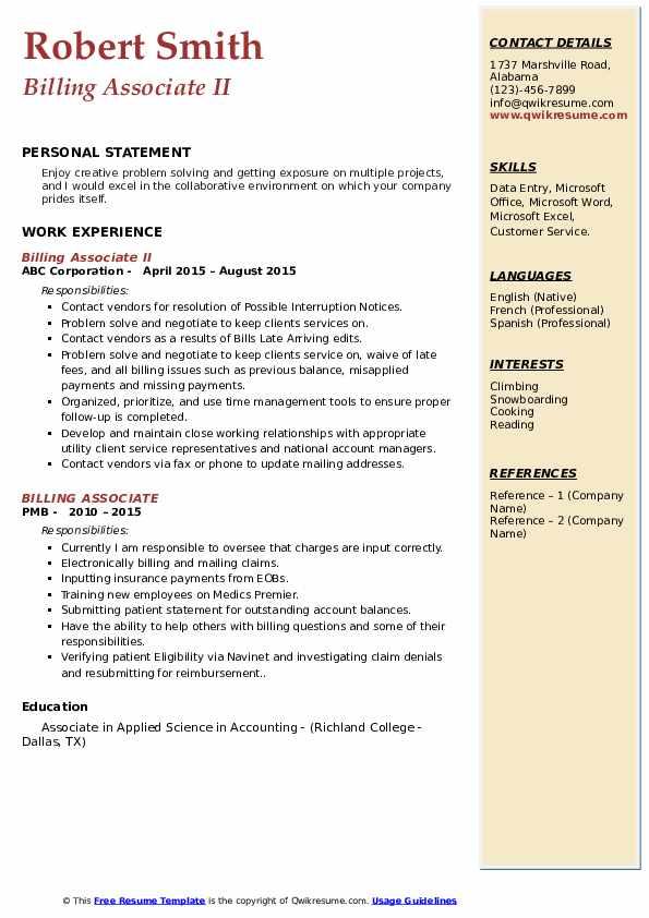 Billing Associate II Resume Template