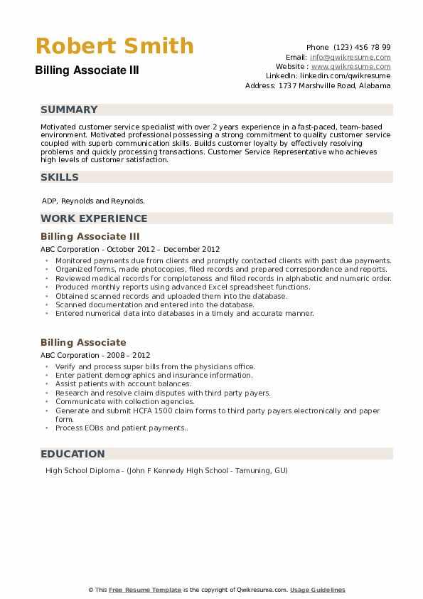 Billing Associate III Resume Model