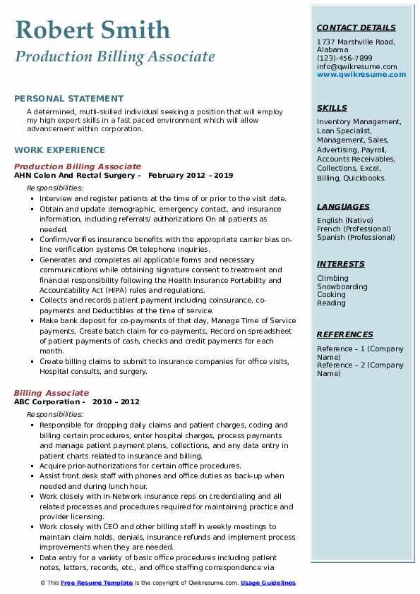 Associate Patient Information Coordinator Resume Model
