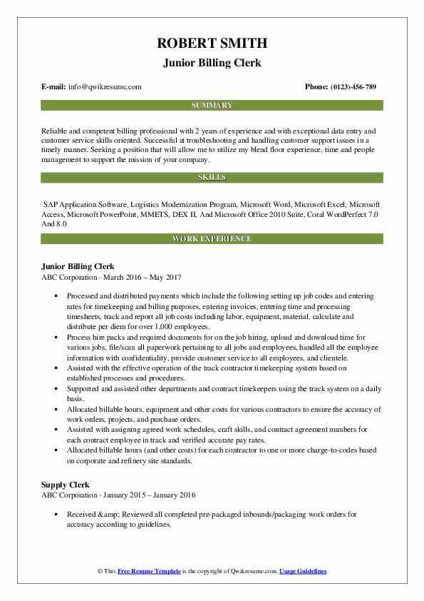 Junior Billing Clerk Resume Sample