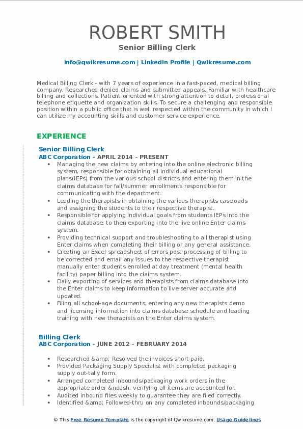 Senior Billing Clerk Resume Template