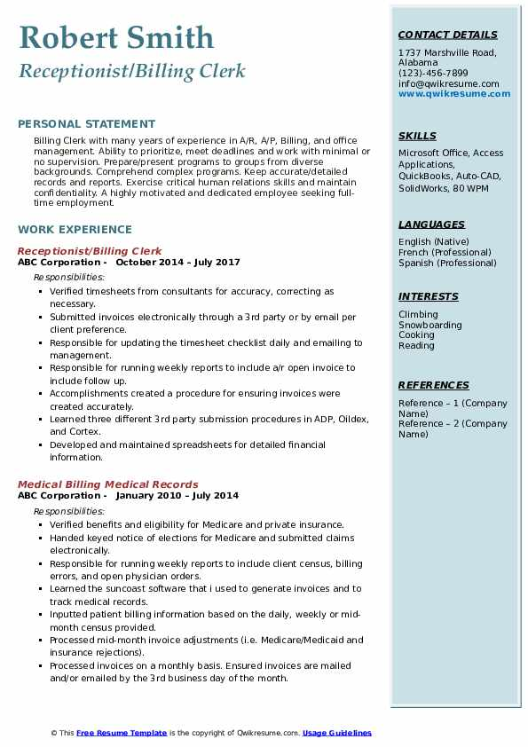 Receptionist/Billing Clerk Resume Example