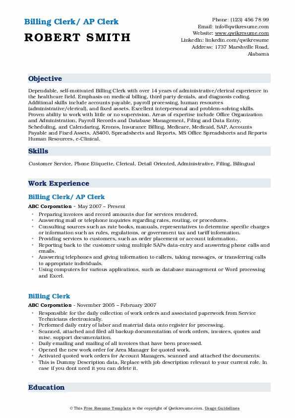 Billing Clerk Resume Samples | QwikResume