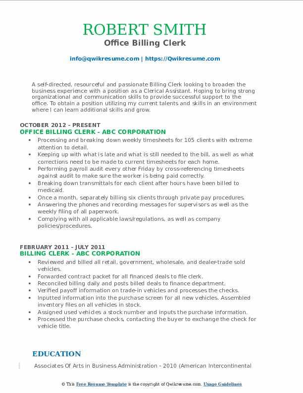 Office Billing Clerk Resume Example