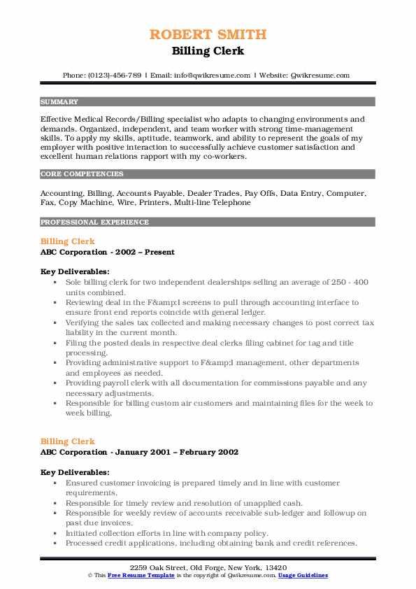 Billing Clerk Resume Format