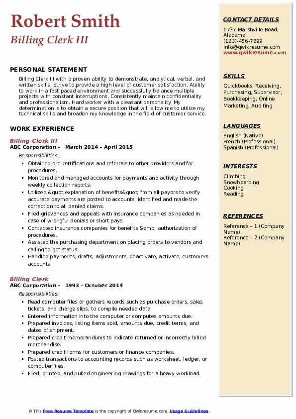 Billing Clerk Resume Samples Qwikresume