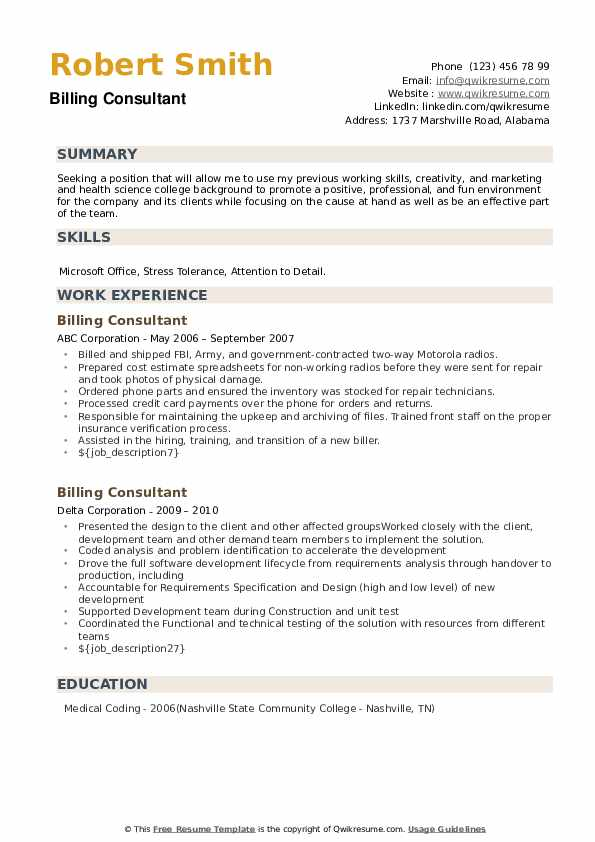 Billing Consultant Resume example