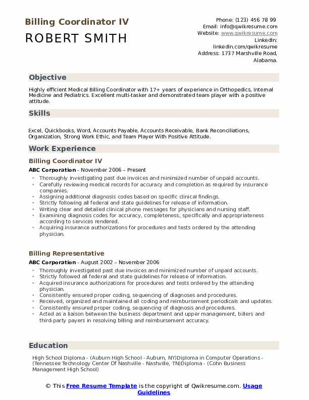 Billing Coordinator IV Resume Format