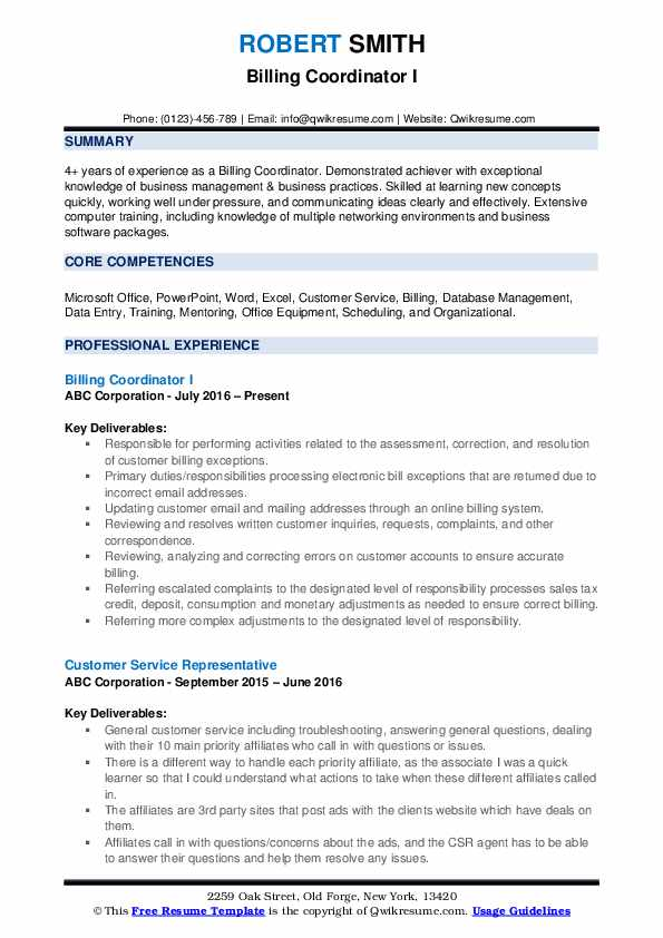 Billing Coordinator I Resume Format