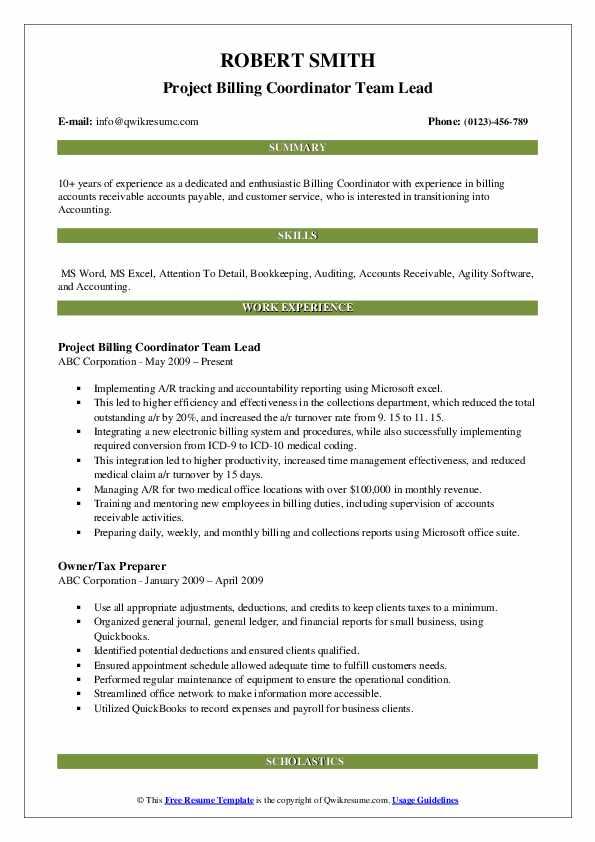 Project Billing Coordinator Team Lead Resume Sample