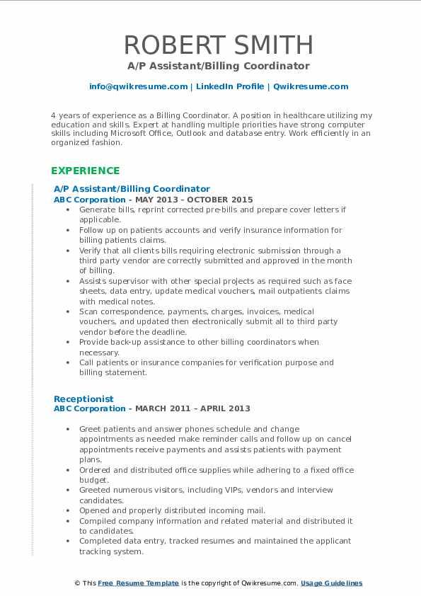 billing coordinator resume samples