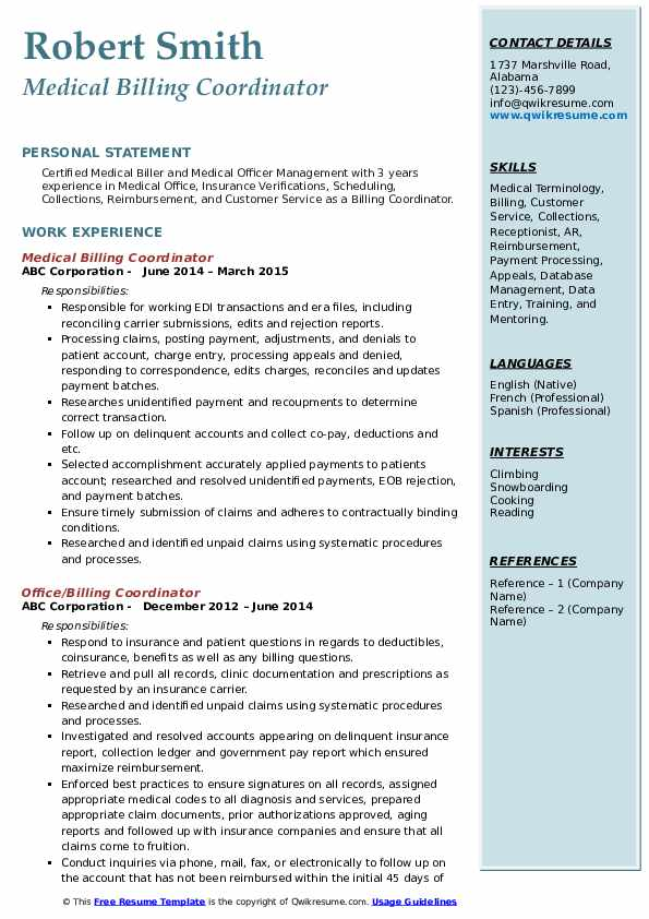 billing coordinator resume samples
