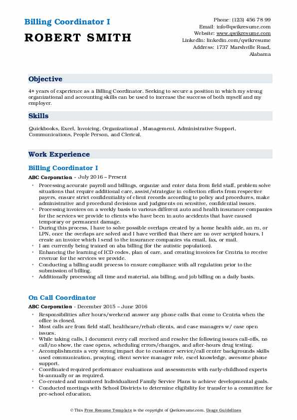 Billing Coordinator I Resume Example