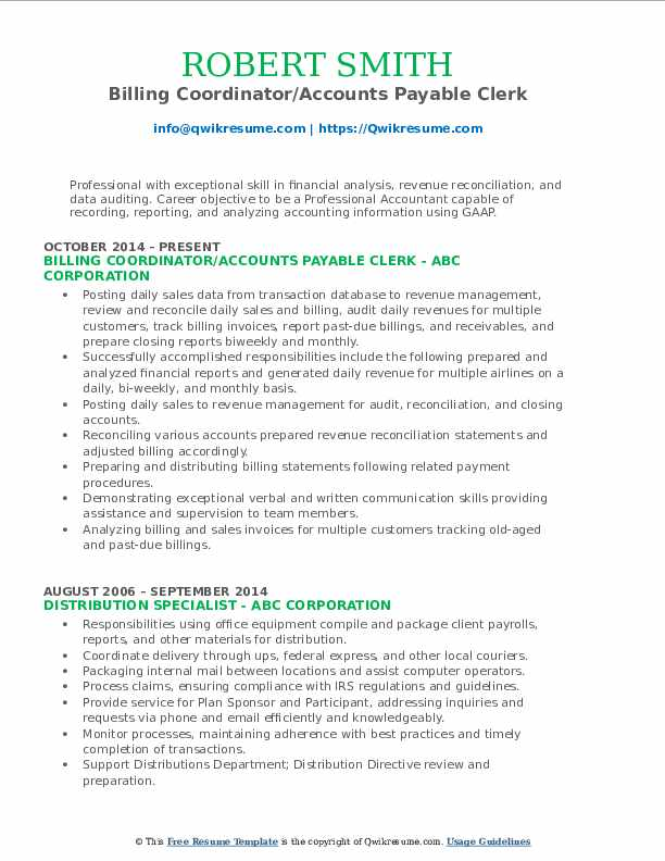 Billing Coordinator/Accounts Payable Clerk Resume Format