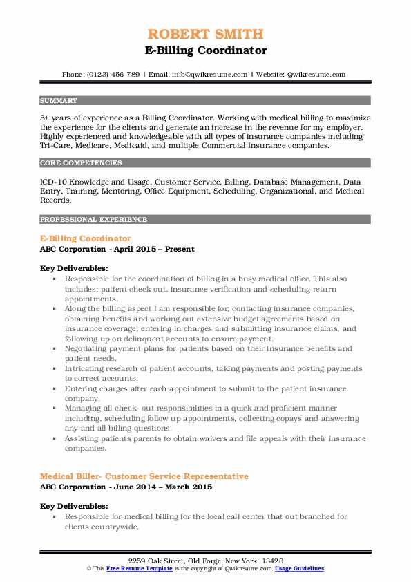 E-Billing Coordinator Resume Sample