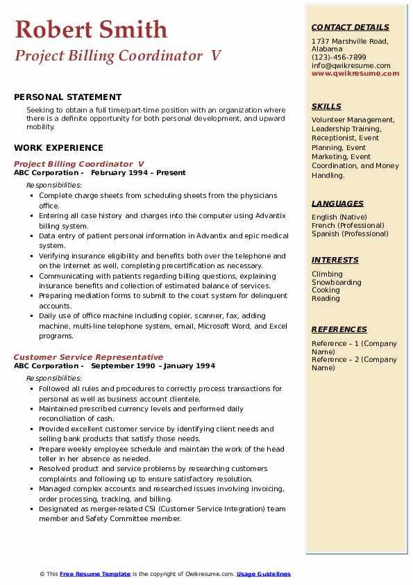 Project Billing Coordinator  V Resume Format