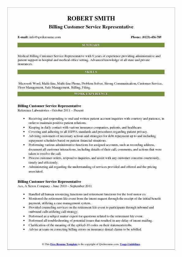 Billing Customer Service Representative Resume Sample