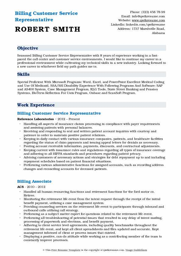 Billing Customer Service Representative Resume Example