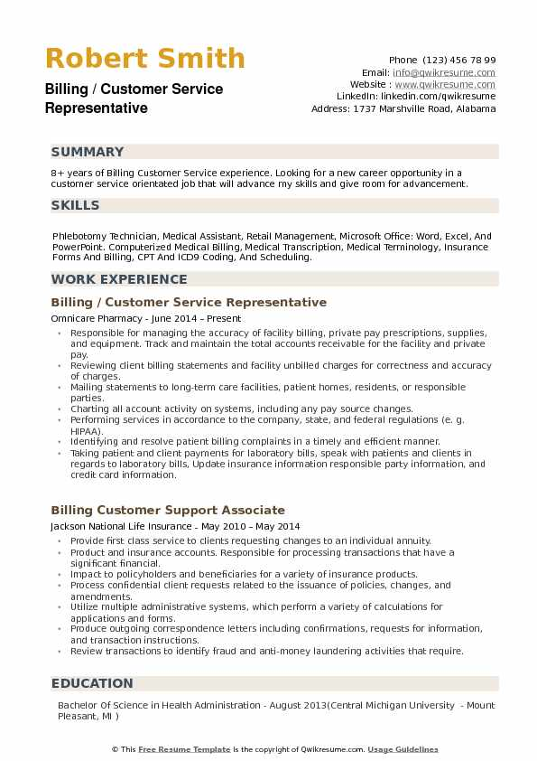 Billing Customer Service Representative Resume Template