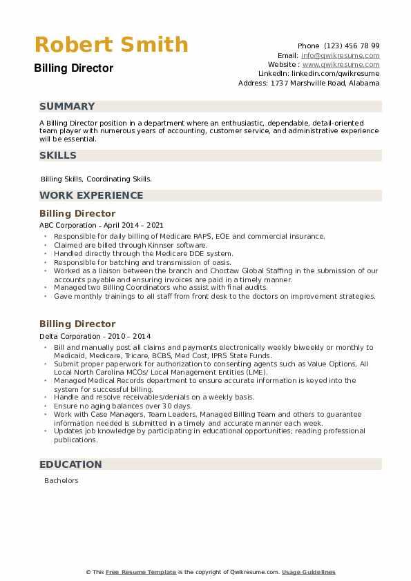 Billing Director Resume example