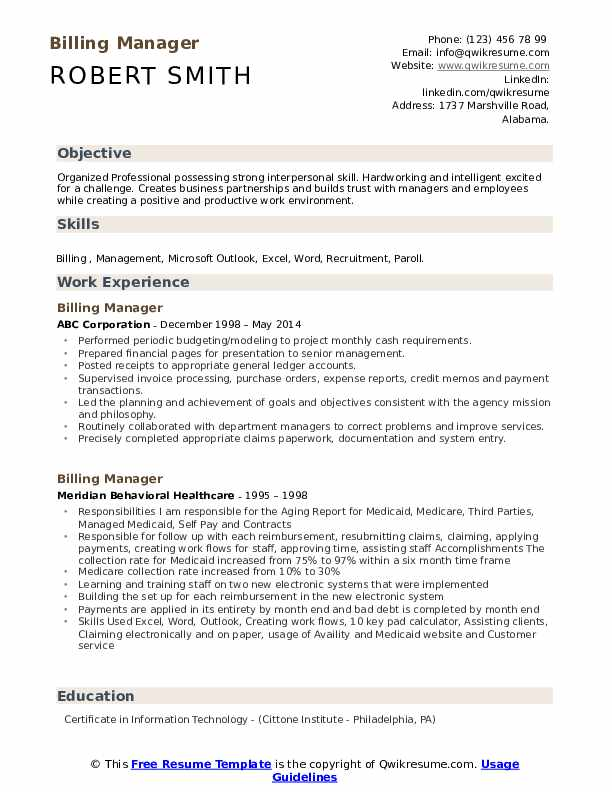 Billing Manager Resume Format
